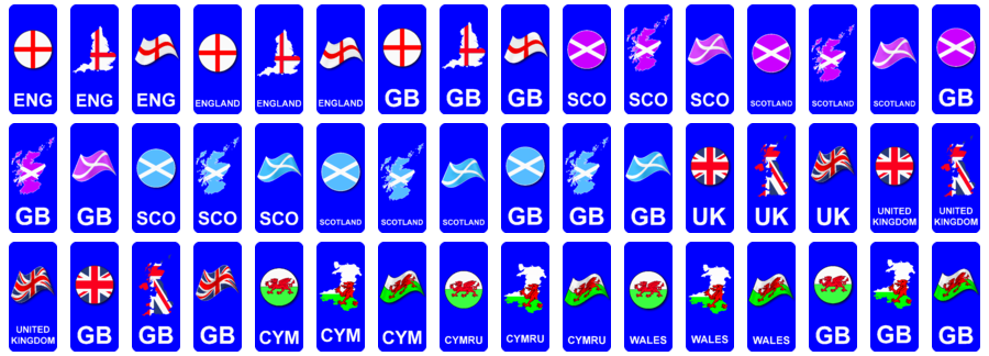Number plate national flags