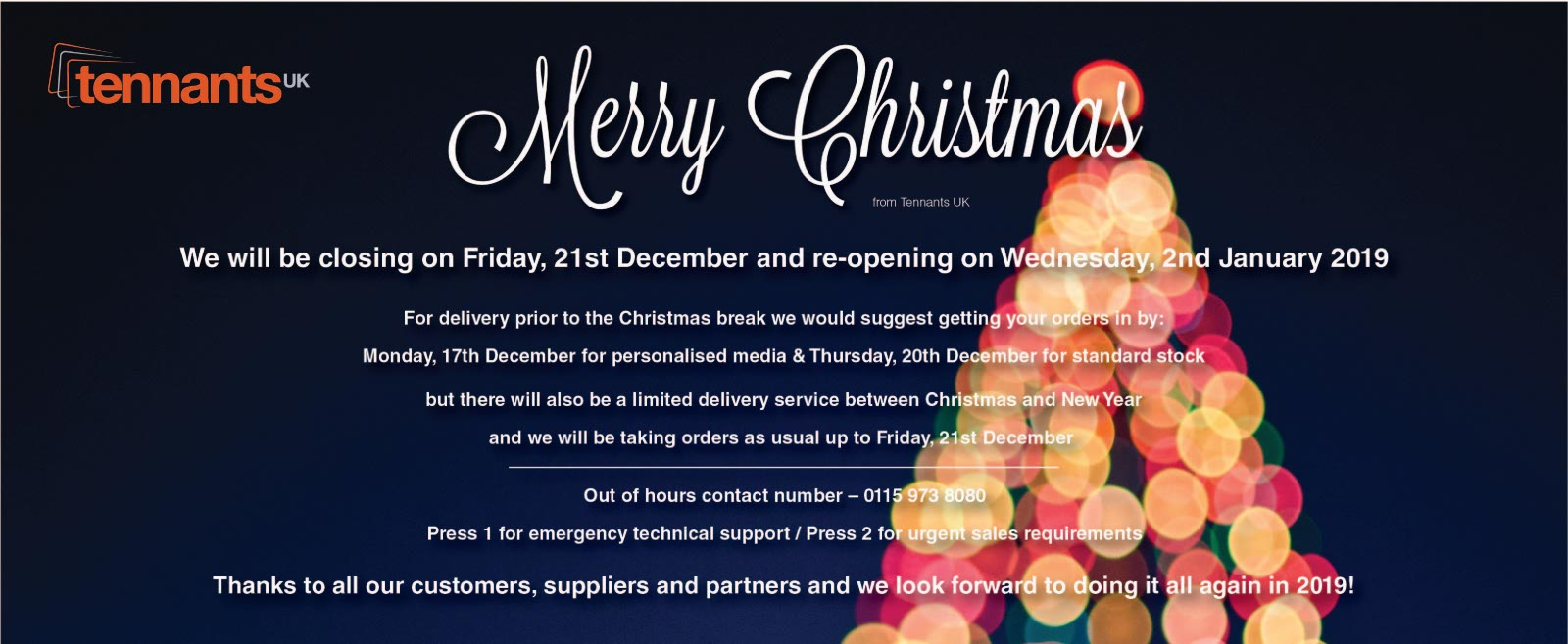 Tennants UK Christmas 2018 opening hours