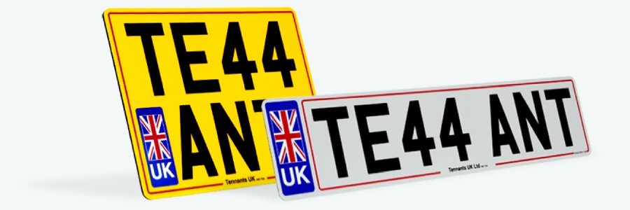 Professionally printed colour number plates