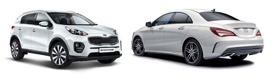 A Kia Sportage and Mercedes Cla 180 Coupe Amg
