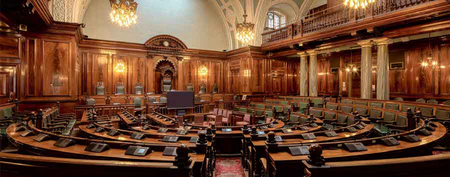 Courtroom, debate and hearing chamber