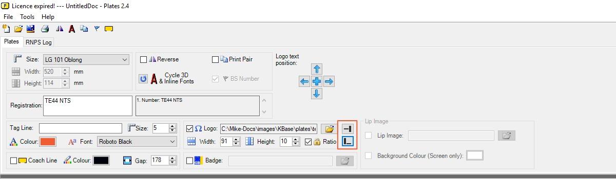 LG Plates Logo position controls