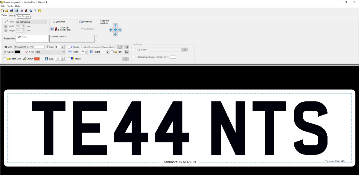 Printing number plates in LG Plates