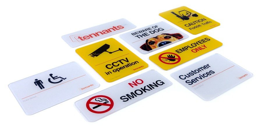 A range of showroom signs made with our printing solutions