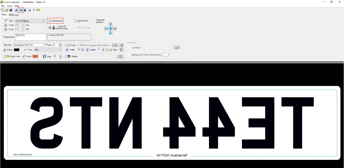 Reverse Printing a Number Plate