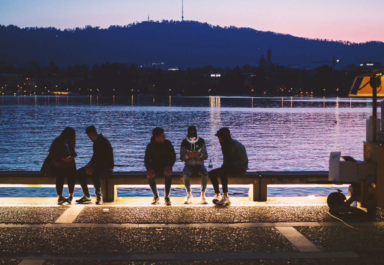 Youths on a bench