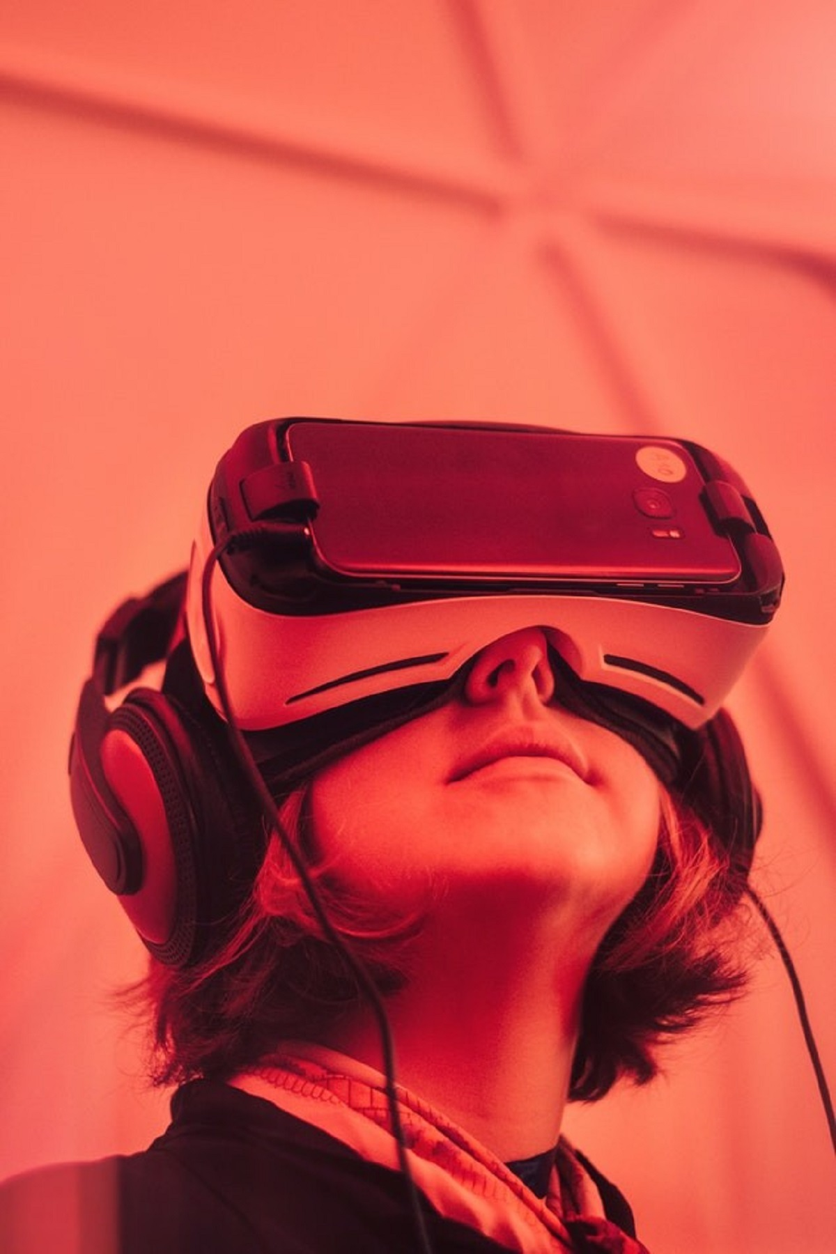 Woman wearing virtual reality googles