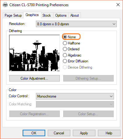 The CLS700 Printing Preferences - Graphics options