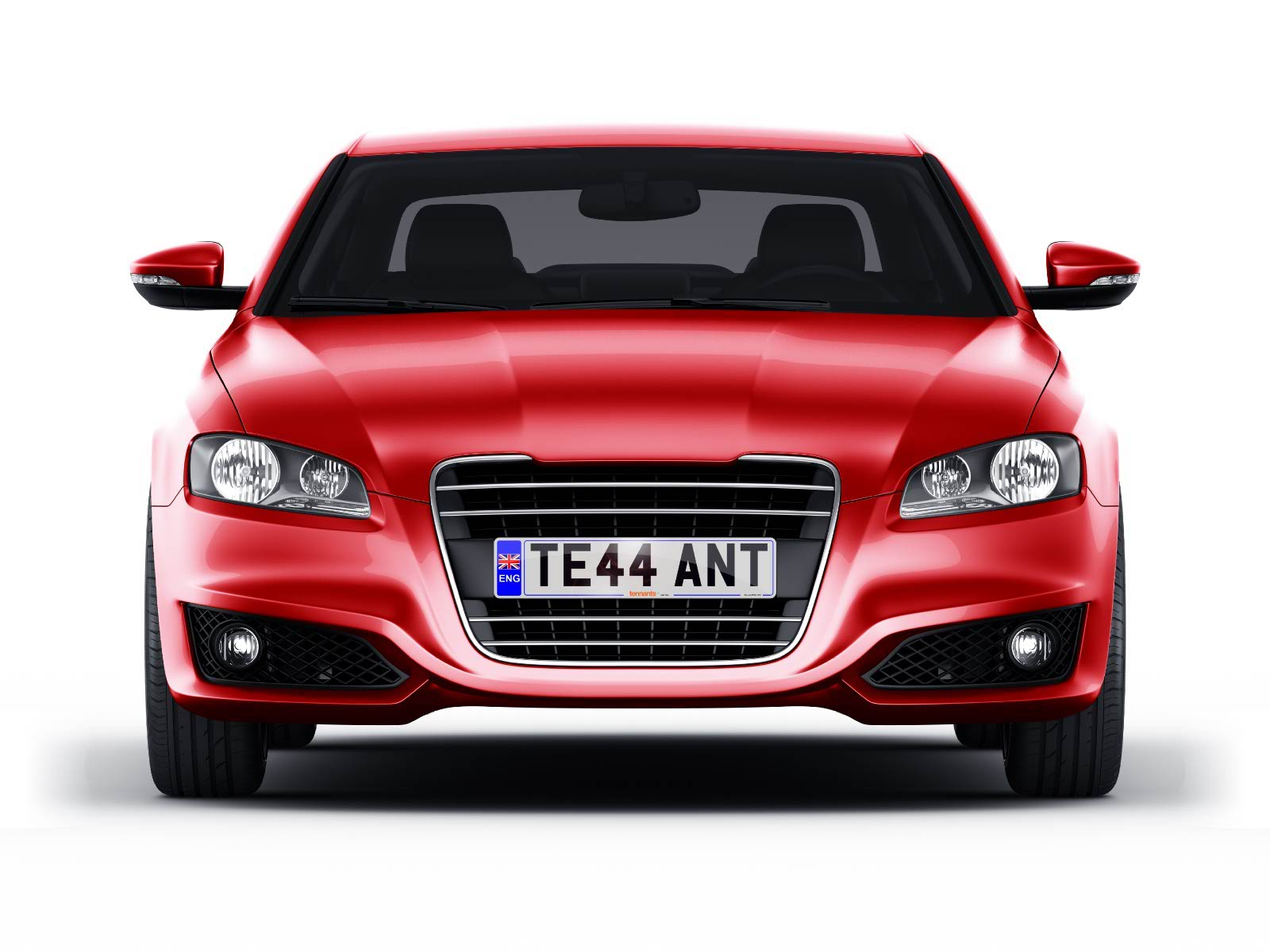 Hybrid number plate on red car