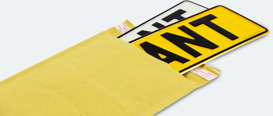 Pair of number plates in an envelope