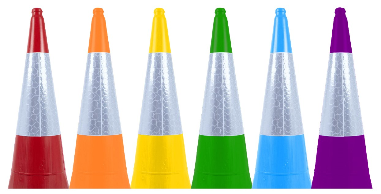 A Rainbow of coloured Traffic Cones