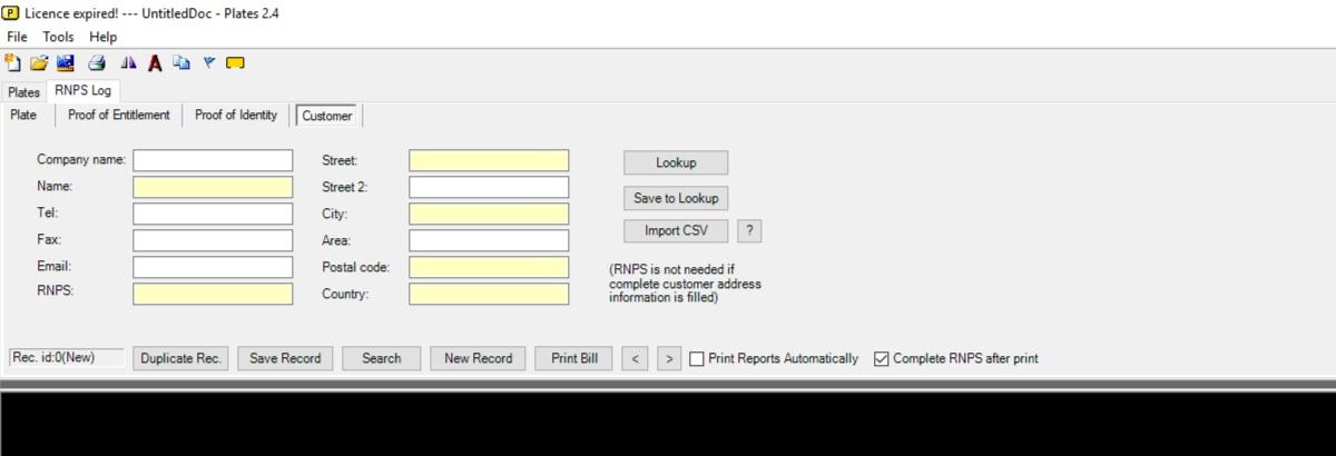 RNPS Customer Details