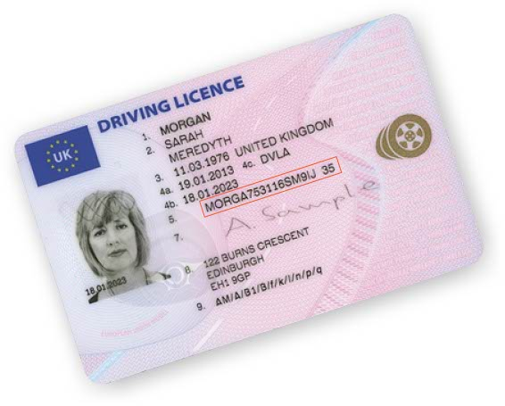 Sample Driving Licence with reference number