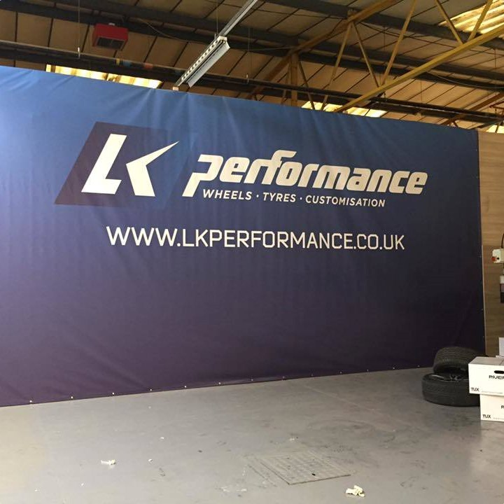 A branded banner for LK Performance