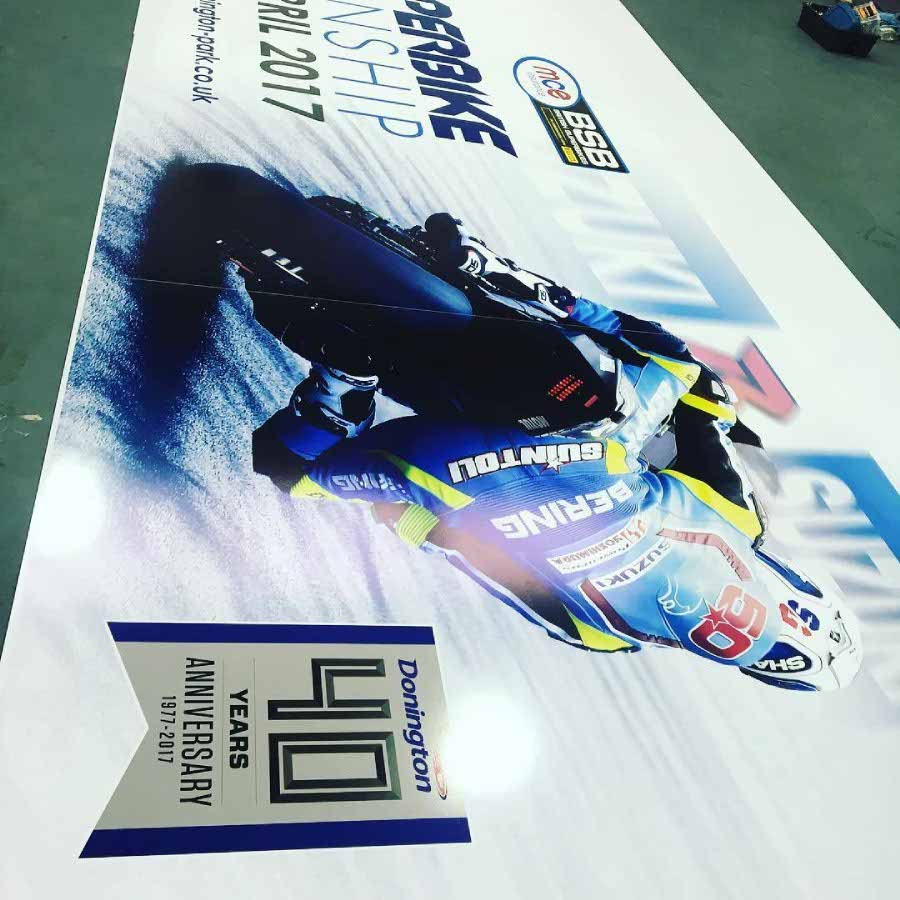 British Superbike Championship banner made with large format printing