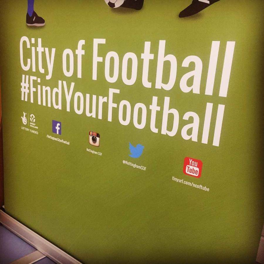 City of Football banner for Nottinghams market square