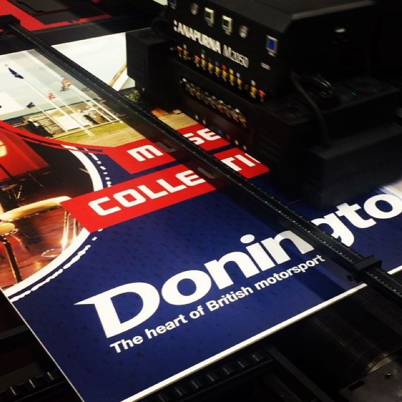 A high quality, large format advert being printed