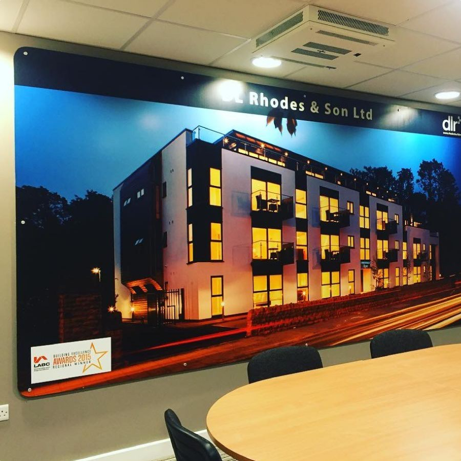A large printed panel made for DL Rhodes and Son LTD