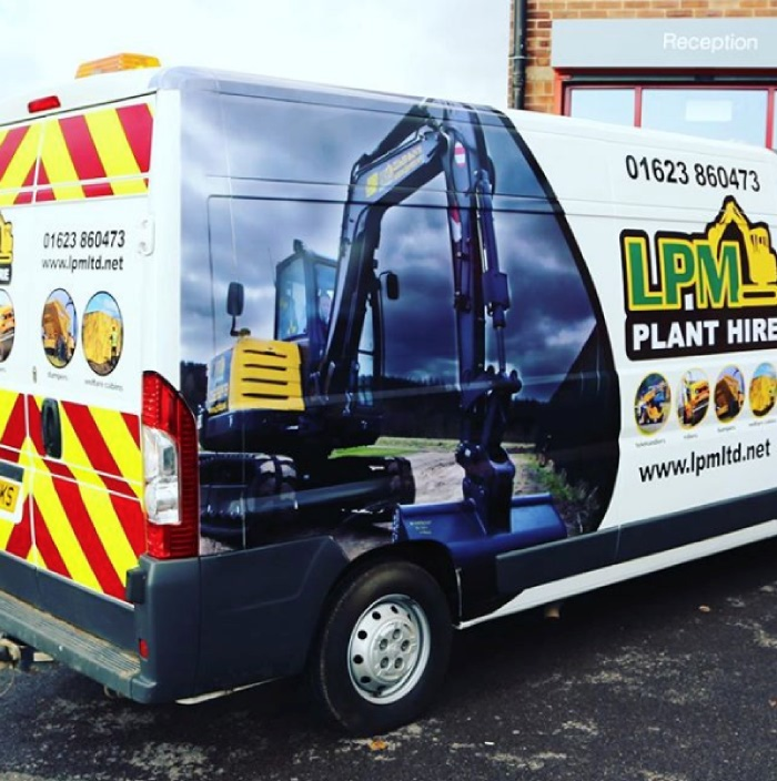 LPM Plant Hire van with a vehicle wrap and chevron-kit
