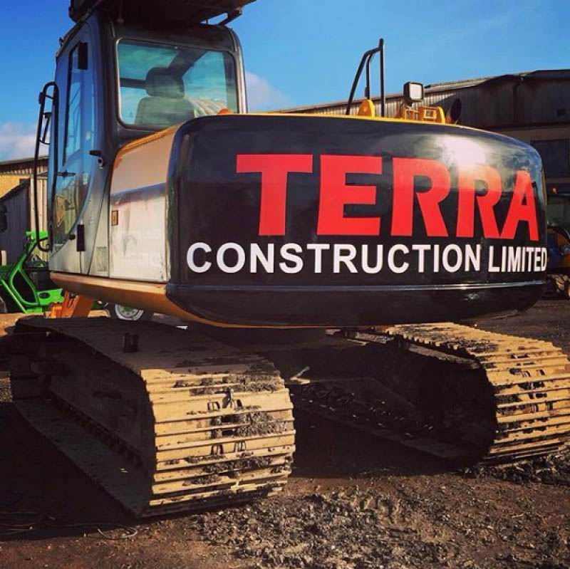 Terra Construction wrap on a large tracked digger