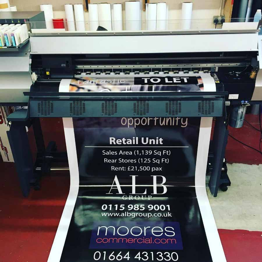 Vinyl graphic for ALB Group being printed