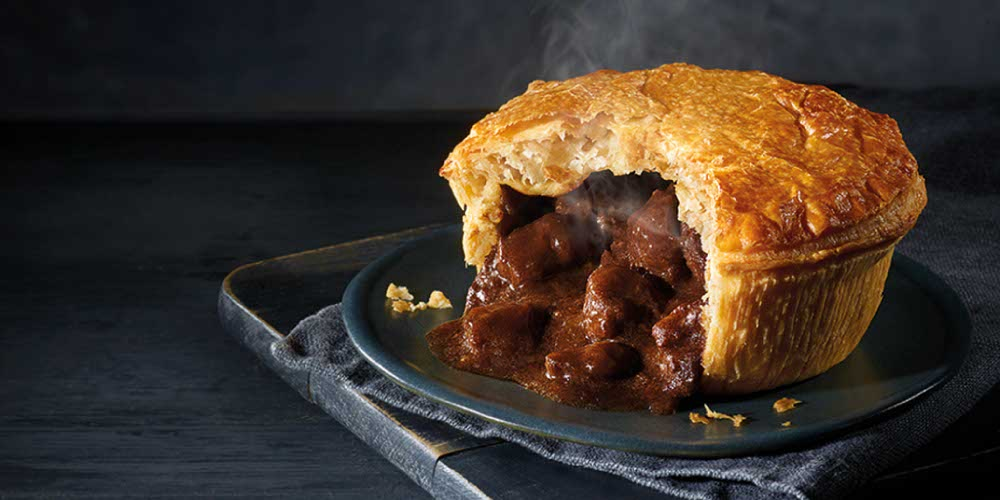 A Pukka Pie ready for eating