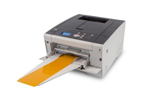 A Trade Series colour printer with a yellow reflective sheet