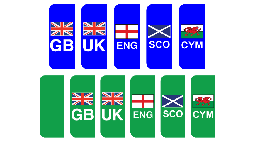 Number Plate National Flags and ZEV Side Badges